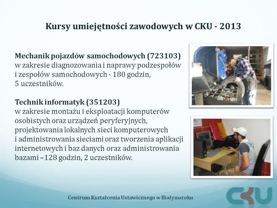 Kursy umiejętności zawodowych w CKU - 2013