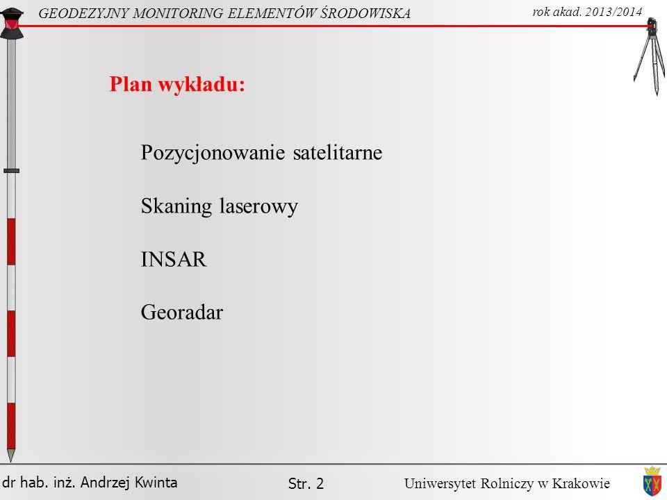 Pozycjonowanie satelitarne Skaning laserowy INSAR Georadar
