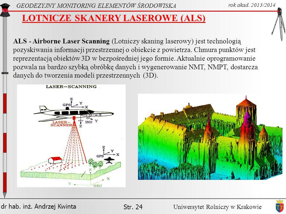 LOTNICZE SKANERY LASEROWE (ALS)