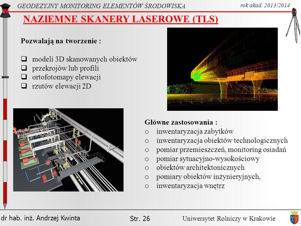 NAZIEMNE SKANERY LASEROWE (TLS)