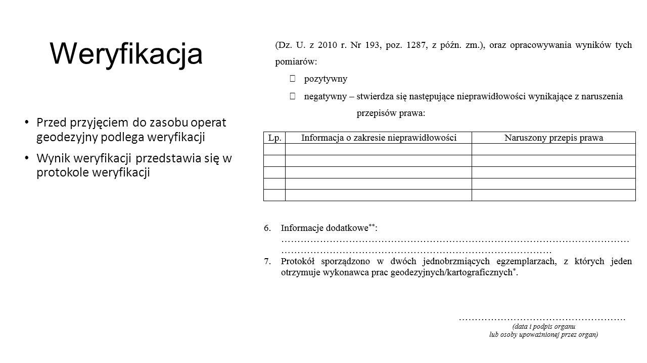 Weryfikacja Przed przyjęciem do zasobu operat geodezyjny podlega weryfikacji.