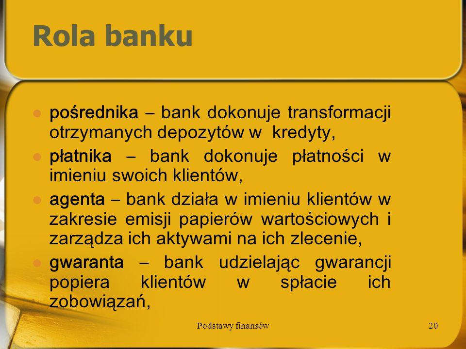 Rola banku pośrednika – bank dokonuje transformacji otrzymanych depozytów w kredyty, płatnika – bank dokonuje płatności w imieniu swoich klientów,