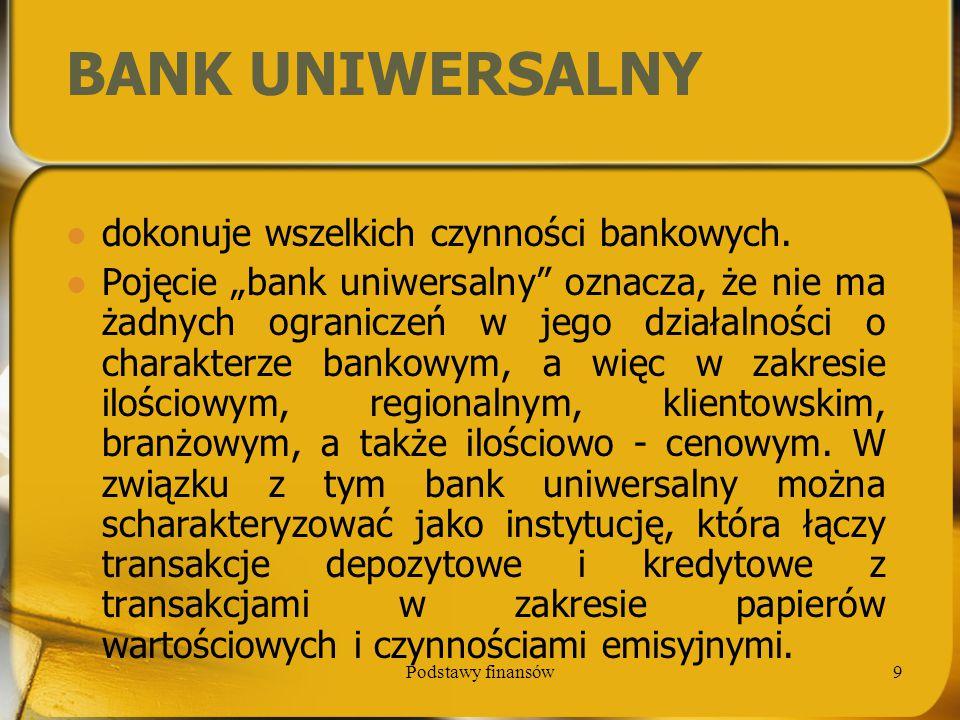 BANK UNIWERSALNY dokonuje wszelkich czynności bankowych.