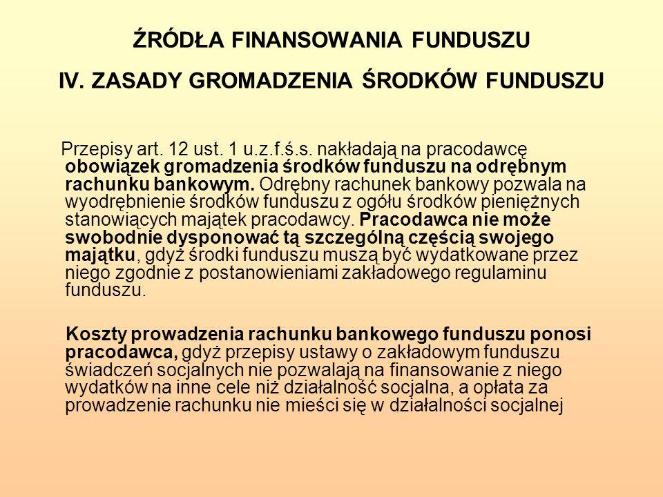 ŹRÓDŁA FINANSOWANIA FUNDUSZU IV. ZASADY GROMADZENIA ŚRODKÓW FUNDUSZU
