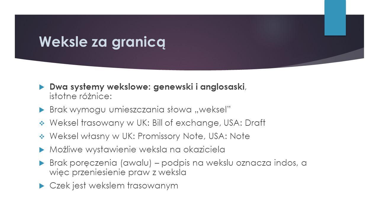 """Weksle za granicą Dwa systemy wekslowe: genewski i anglosaski, istotne różnice: Brak wymogu umieszczania słowa """"weksel"""