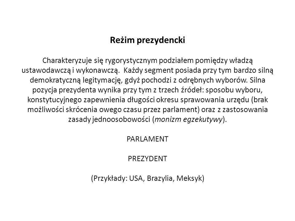 Reżim prezydencki Charakteryzuje się rygorystycznym podziałem pomiędzy władzą ustawodawczą i wykonawczą.