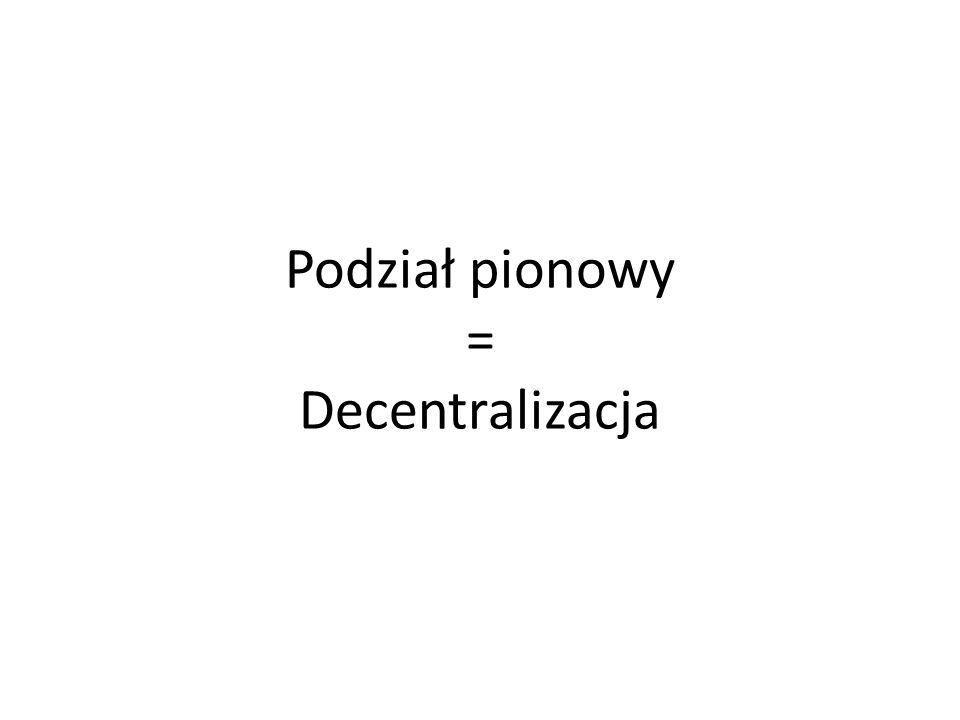 Podział pionowy = Decentralizacja