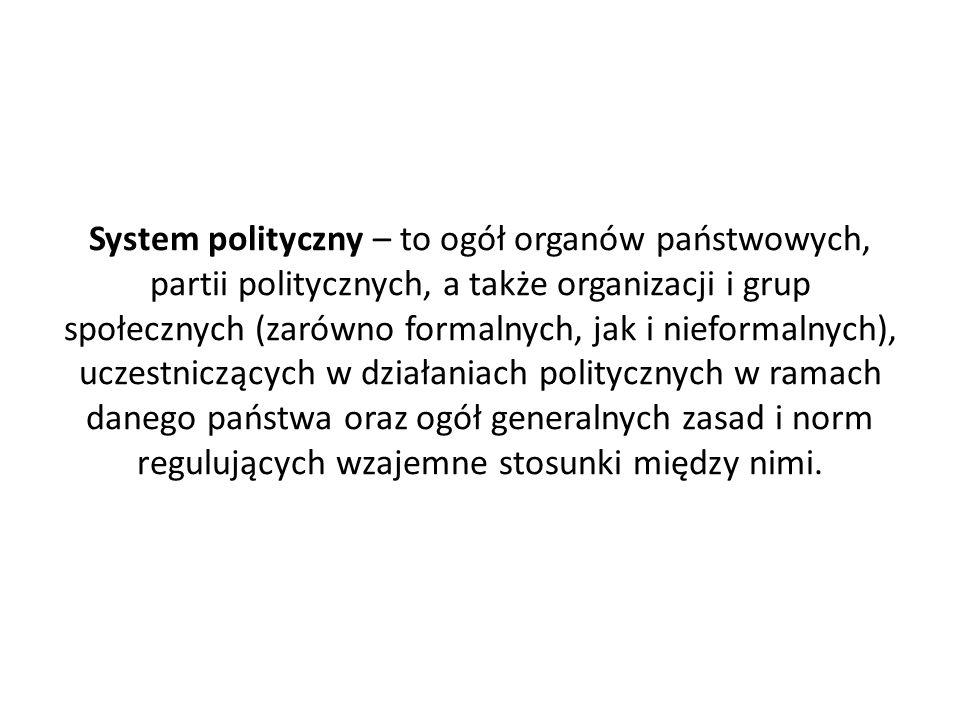 System polityczny – to ogół organów państwowych, partii politycznych, a także organizacji i grup społecznych (zarówno formalnych, jak i nieformalnych), uczestniczących w działaniach politycznych w ramach danego państwa oraz ogół generalnych zasad i norm regulujących wzajemne stosunki między nimi.