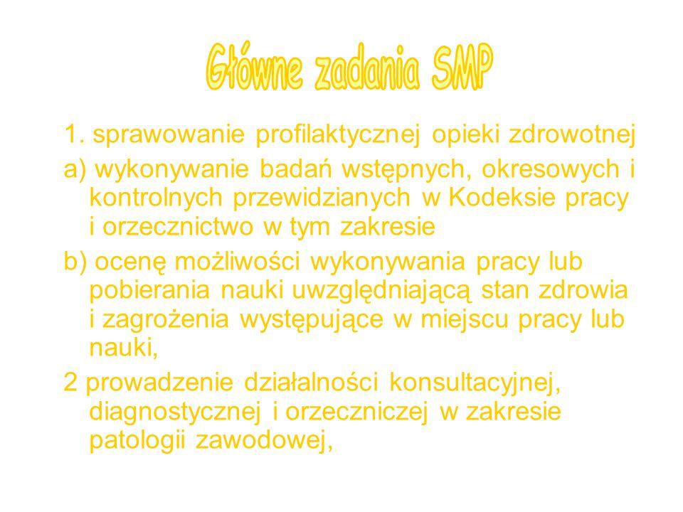 Główne zadania SMP 1. sprawowanie profilaktycznej opieki zdrowotnej