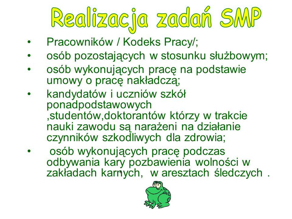 Realizacja zadań SMP Pracowników / Kodeks Pracy/;