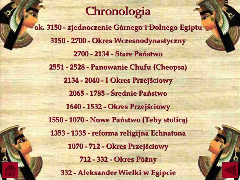Chronologia ok. 3150 - zjednoczenie Górnego i Dolnego Egiptu