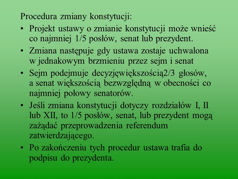 Procedura zmiany konstytucji: