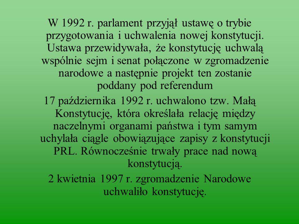 2 kwietnia 1997 r. zgromadzenie Narodowe uchwaliło konstytucję.