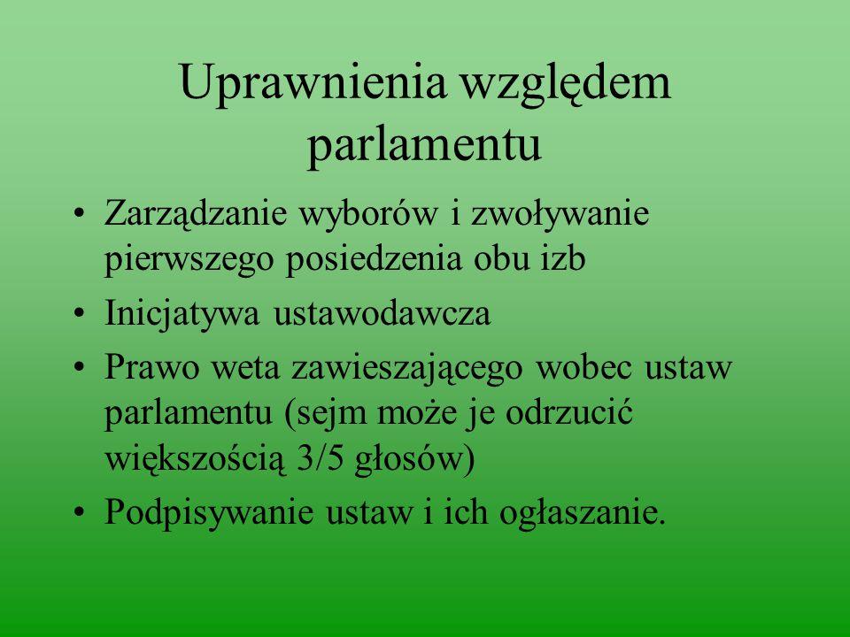 Uprawnienia względem parlamentu
