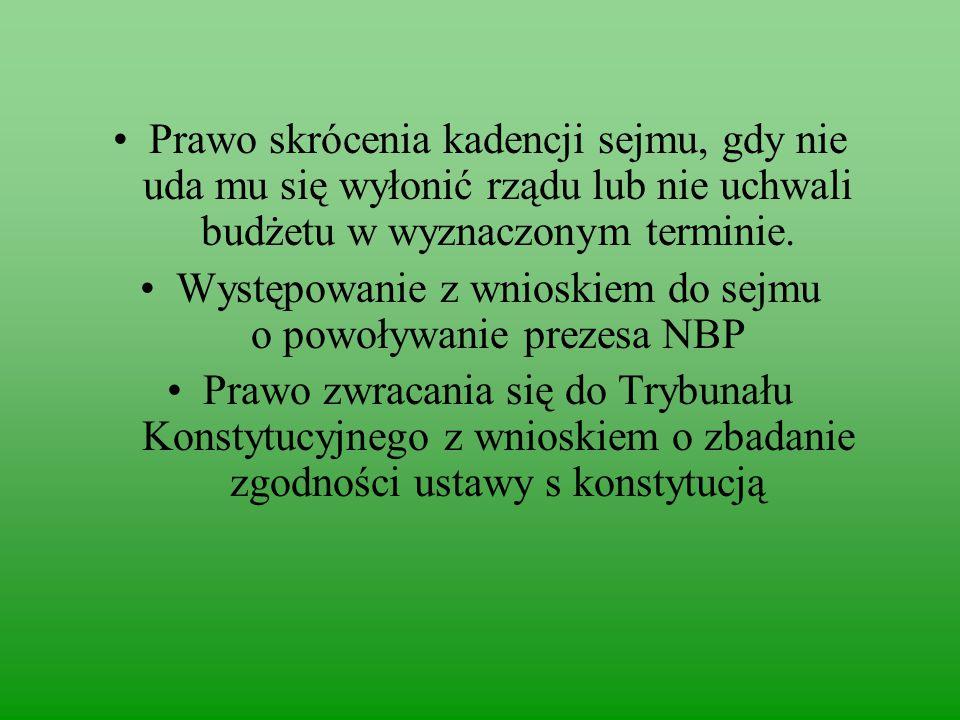 Występowanie z wnioskiem do sejmu o powoływanie prezesa NBP