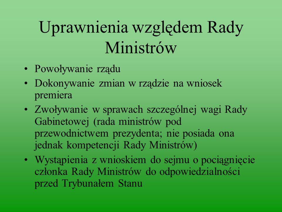 Uprawnienia względem Rady Ministrów