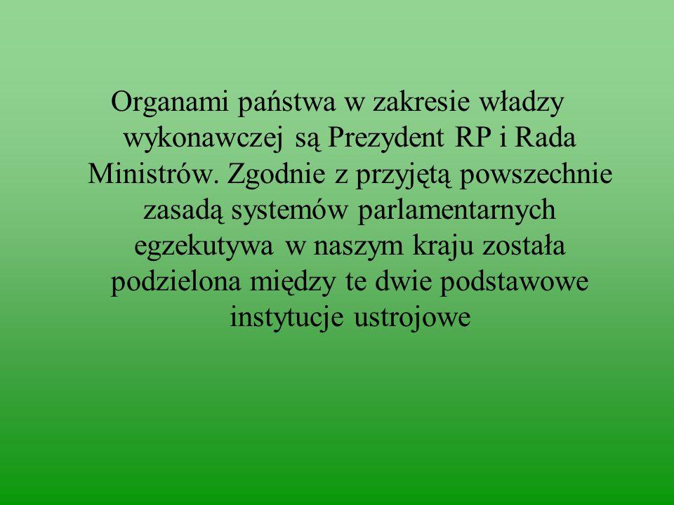 Organami państwa w zakresie władzy wykonawczej są Prezydent RP i Rada Ministrów.