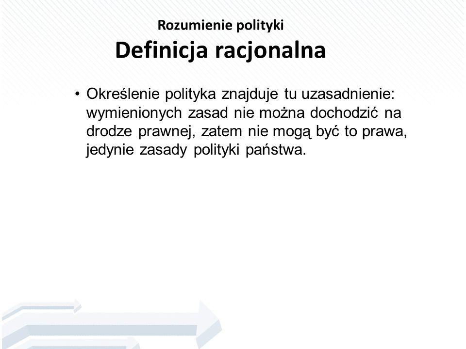 Rozumienie polityki Definicja racjonalna