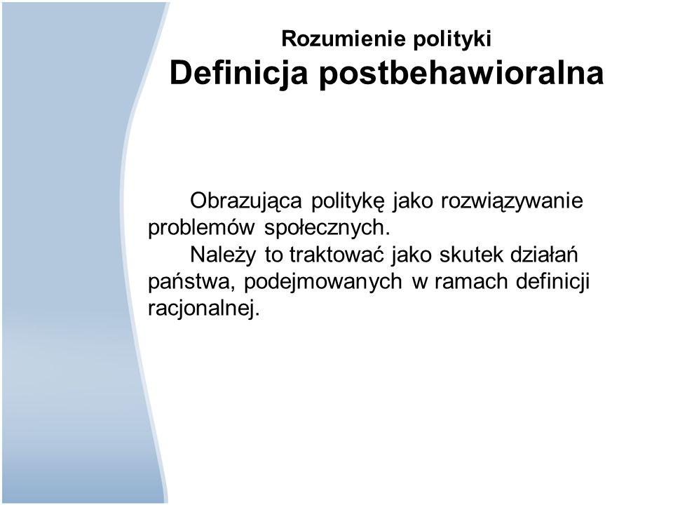 Rozumienie polityki Definicja postbehawioralna