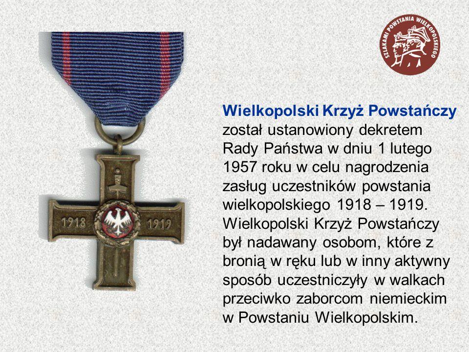 Wielkopolski Krzyż Powstańczy został ustanowiony dekretem Rady Państwa w dniu 1 lutego 1957 roku w celu nagrodzenia zasług uczestników powstania wielkopolskiego 1918 – 1919.