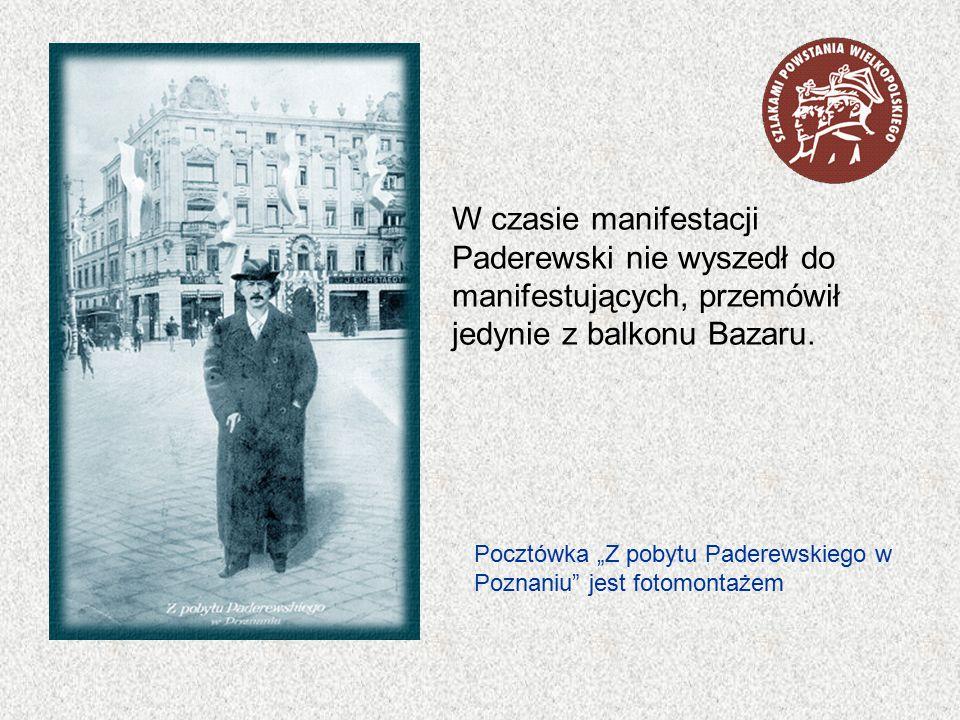 W czasie manifestacji Paderewski nie wyszedł do manifestujących, przemówił jedynie z balkonu Bazaru.