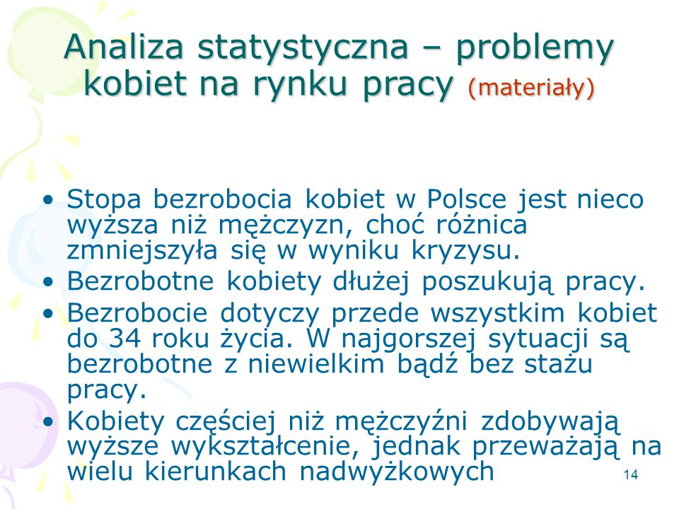 Analiza statystyczna – problemy kobiet na rynku pracy (materiały)