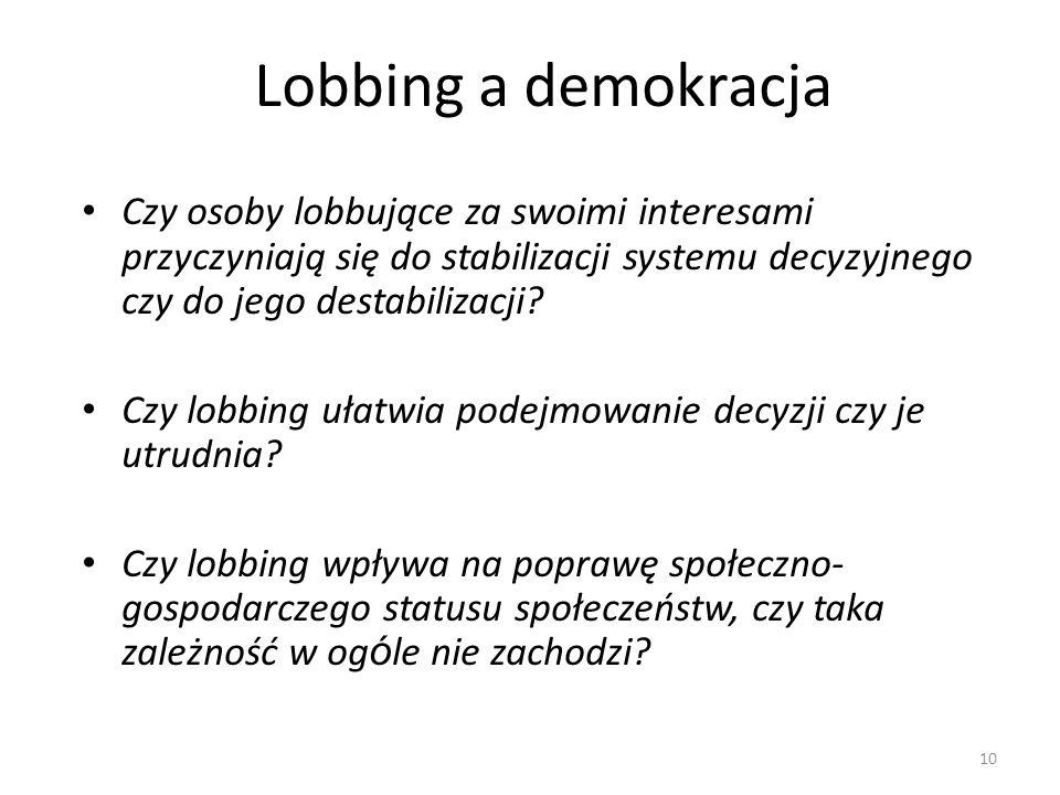 Lobbing a demokracja Czy osoby lobbujące za swoimi interesami przyczyniają się do stabilizacji systemu decyzyjnego czy do jego destabilizacji
