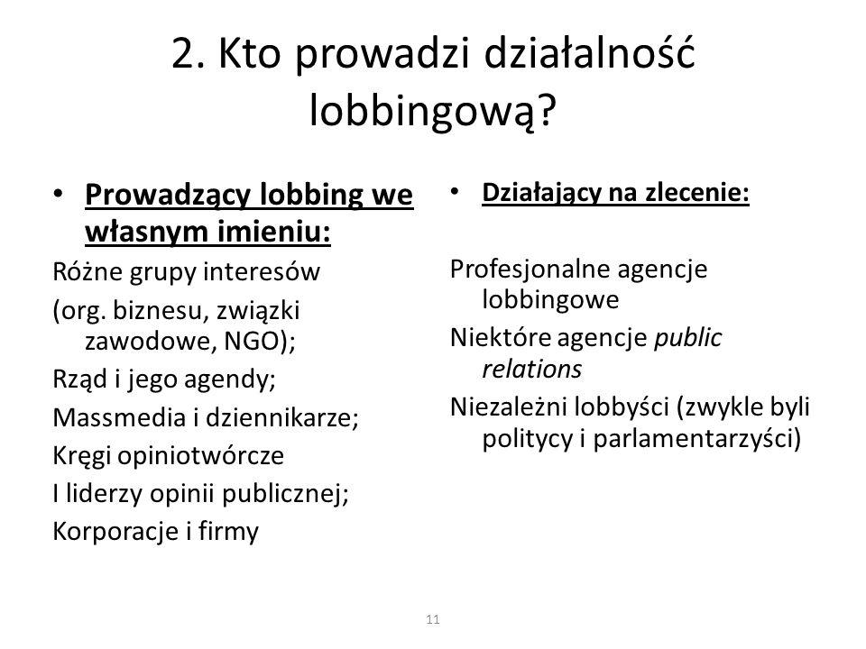 2. Kto prowadzi działalność lobbingową