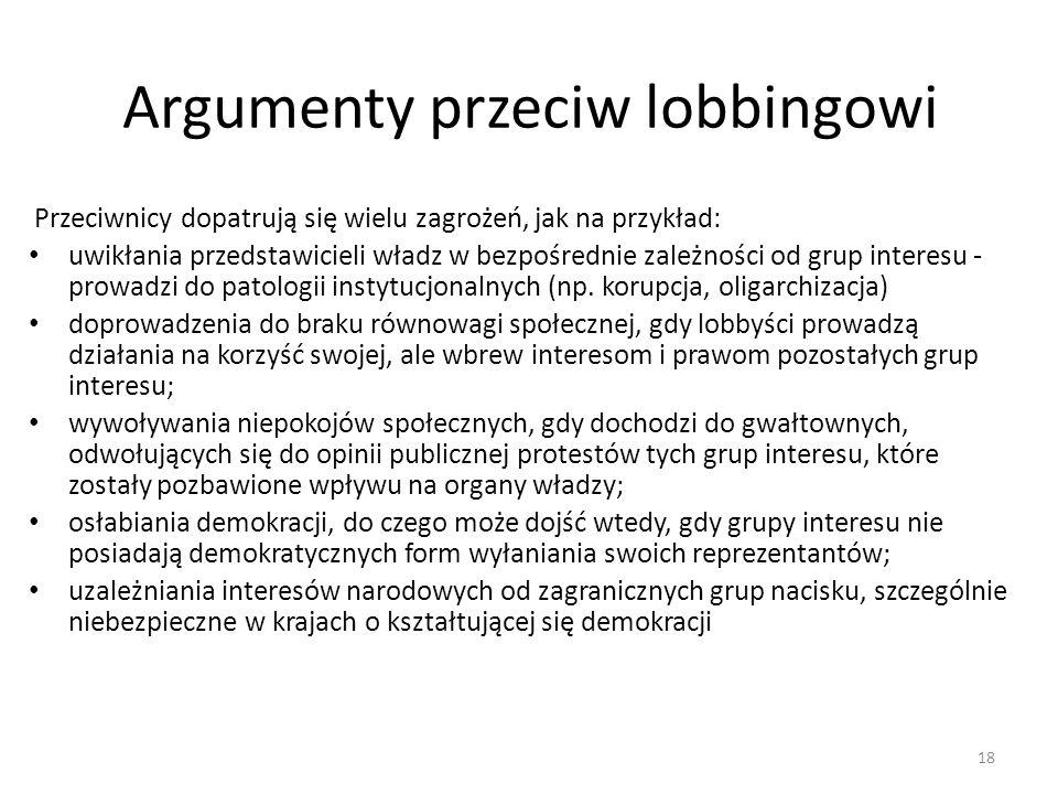 Argumenty przeciw lobbingowi