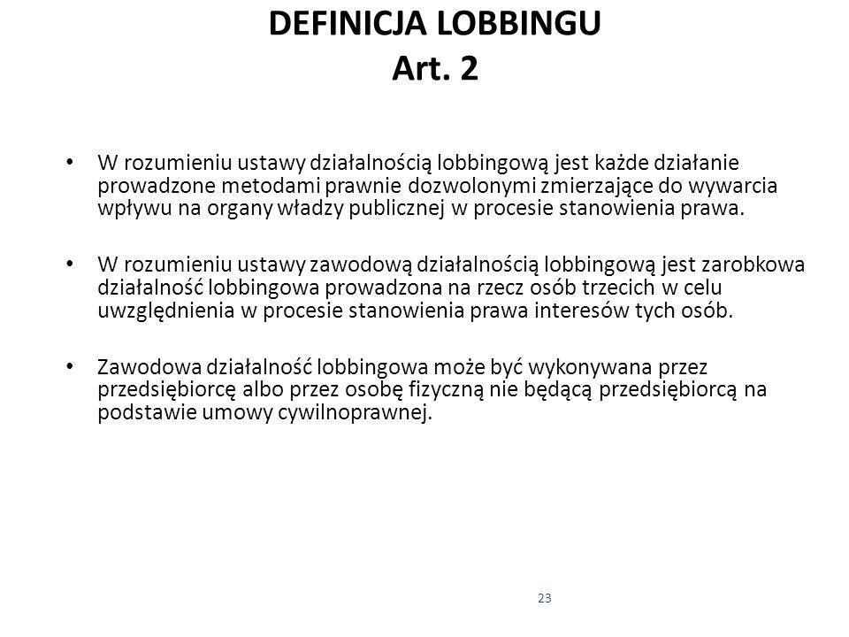 DEFINICJA LOBBINGU Art. 2