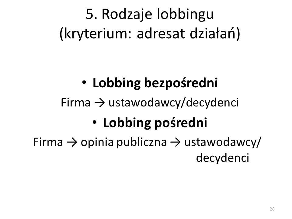 5. Rodzaje lobbingu (kryterium: adresat działań)