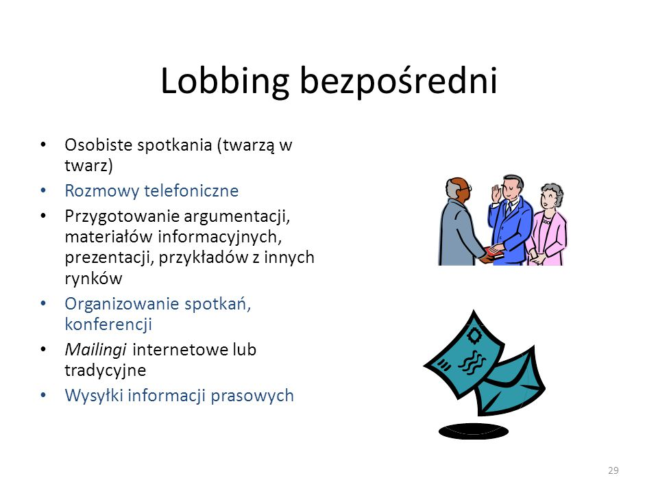 Lobbing bezpośredni Osobiste spotkania (twarzą w twarz)