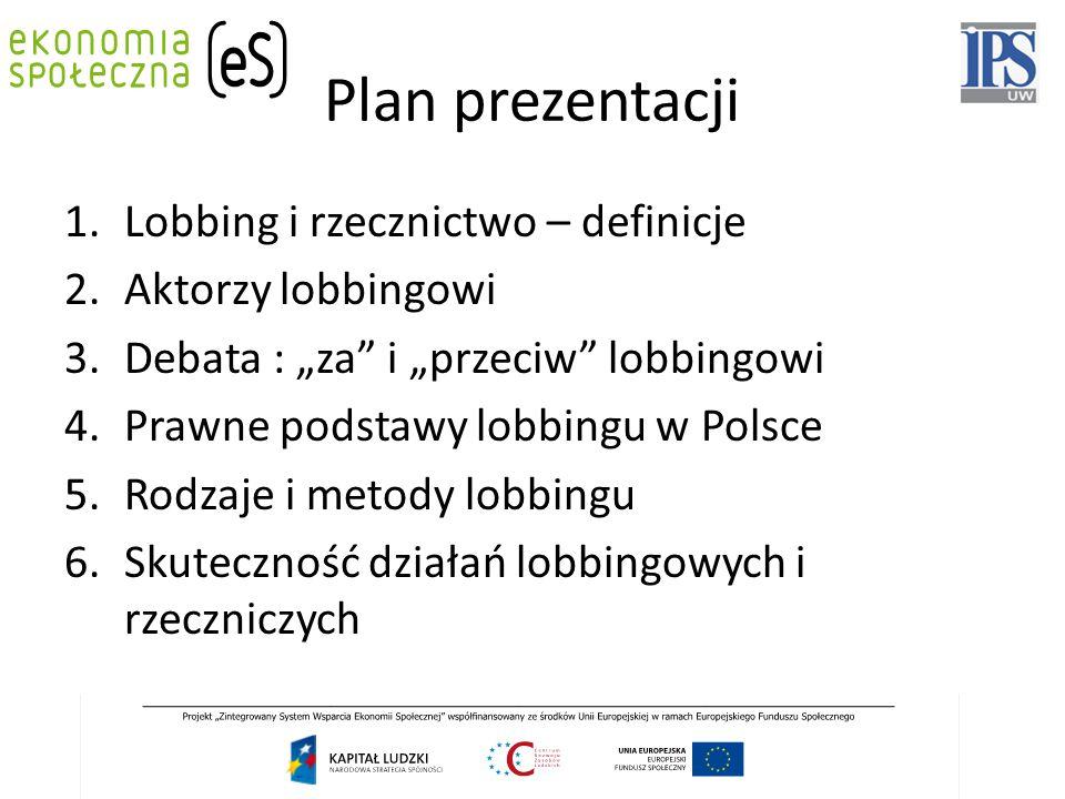 Plan prezentacji Lobbing i rzecznictwo – definicje Aktorzy lobbingowi