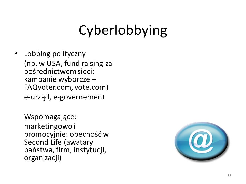 Cyberlobbying Lobbing polityczny