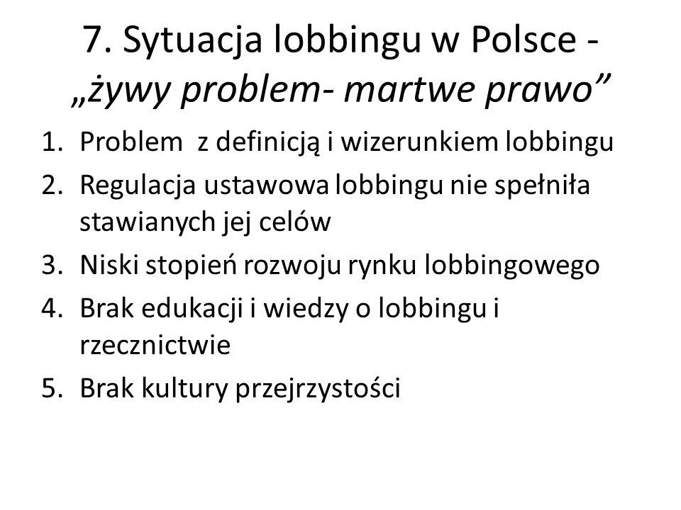 """7. Sytuacja lobbingu w Polsce - """"żywy problem- martwe prawo"""