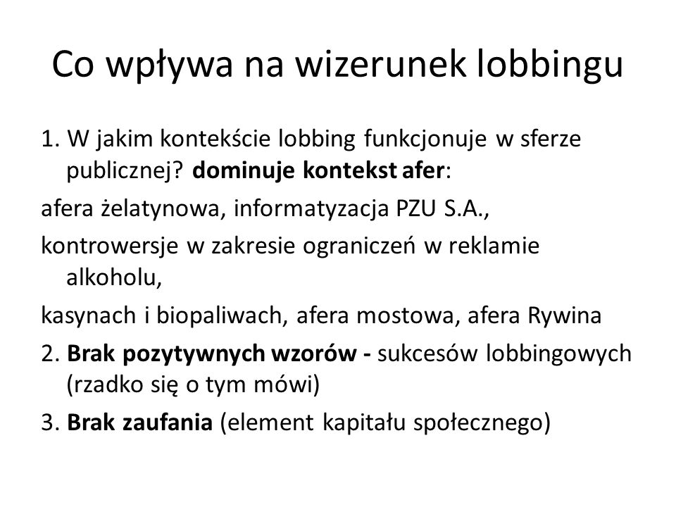 Co wpływa na wizerunek lobbingu