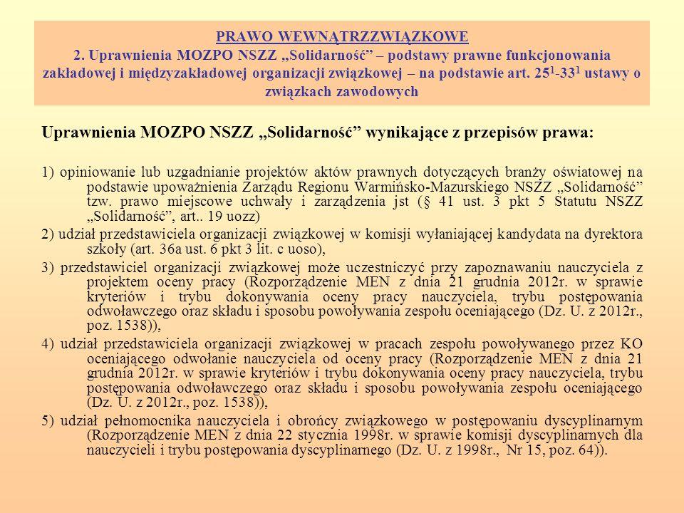 """Uprawnienia MOZPO NSZZ """"Solidarność wynikające z przepisów prawa:"""