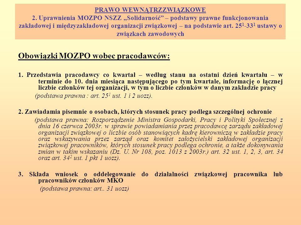 Obowiązki MOZPO wobec pracodawców: