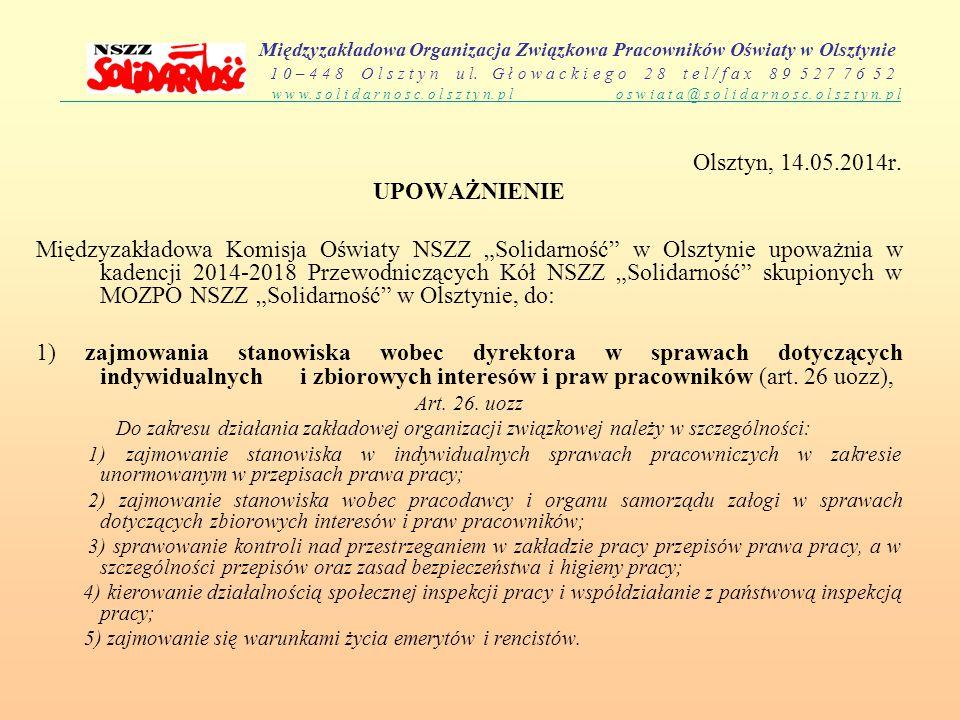 Olsztyn, 14.05.2014r. UPOWAŻNIENIE