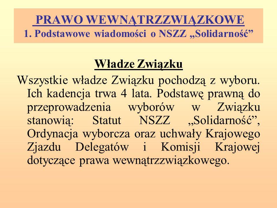"""PRAWO WEWNĄTRZZWIĄZKOWE 1. Podstawowe wiadomości o NSZZ """"Solidarność"""