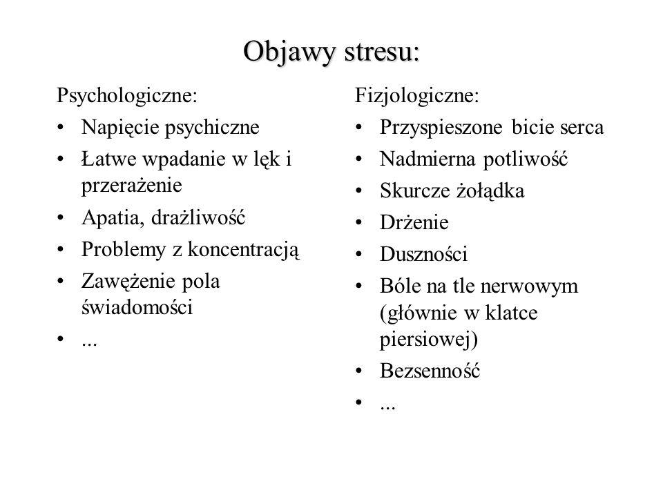 Objawy stresu: Psychologiczne: Napięcie psychiczne