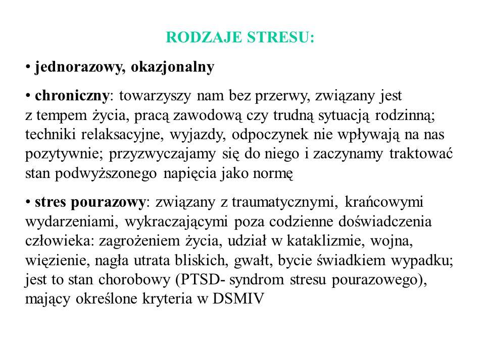 RODZAJE STRESU: jednorazowy, okazjonalny.