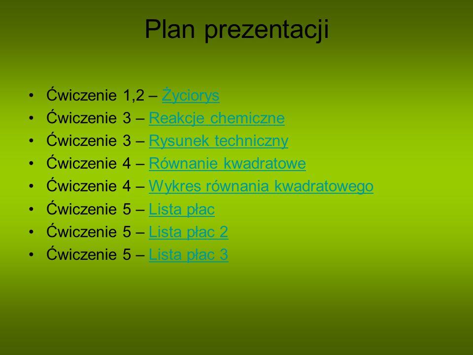 Plan prezentacji Ćwiczenie 1,2 – Życiorys