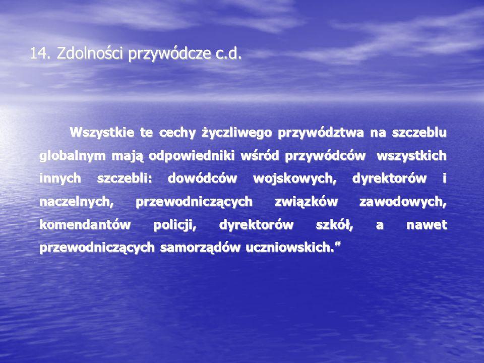 14. Zdolności przywódcze c.d.