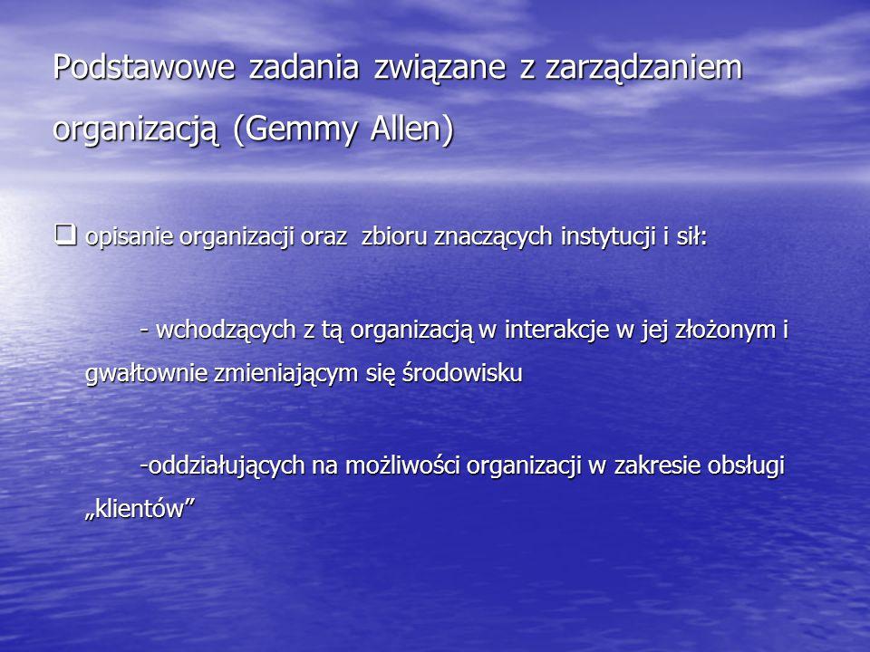 Podstawowe zadania związane z zarządzaniem organizacją (Gemmy Allen)