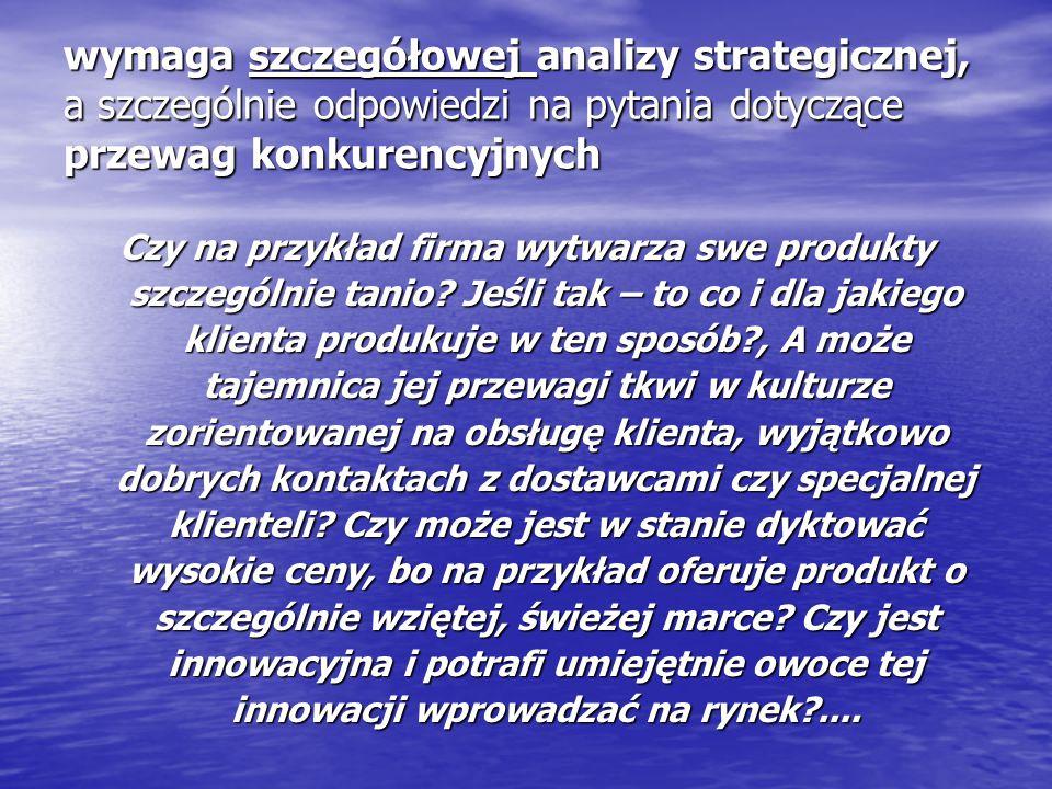 wymaga szczegółowej analizy strategicznej, a szczególnie odpowiedzi na pytania dotyczące przewag konkurencyjnych