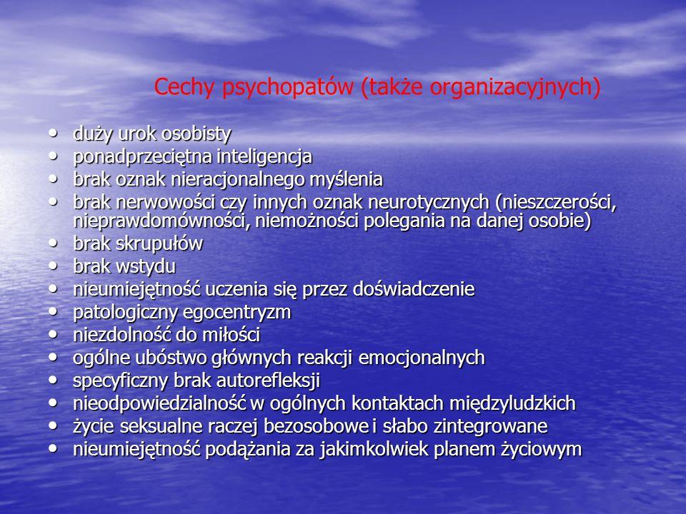 Cechy psychopatów (także organizacyjnych)
