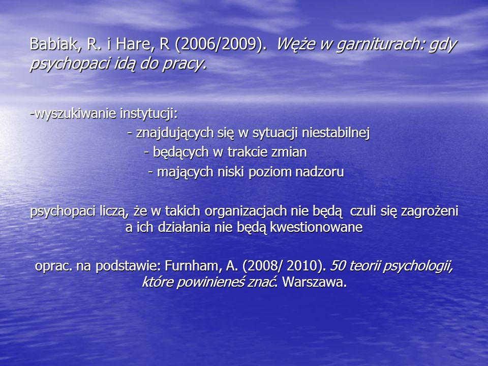Babiak, R. i Hare, R (2006/2009). Węże w garniturach: gdy psychopaci idą do pracy.