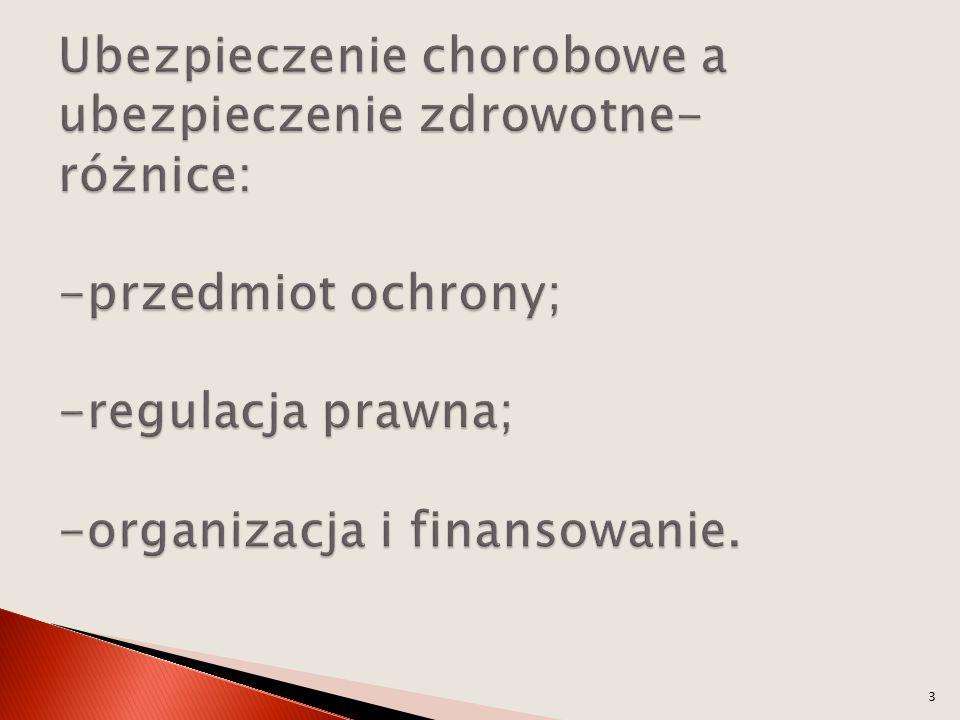 Ubezpieczenie chorobowe a ubezpieczenie zdrowotne- różnice: -przedmiot ochrony; -regulacja prawna; -organizacja i finansowanie.
