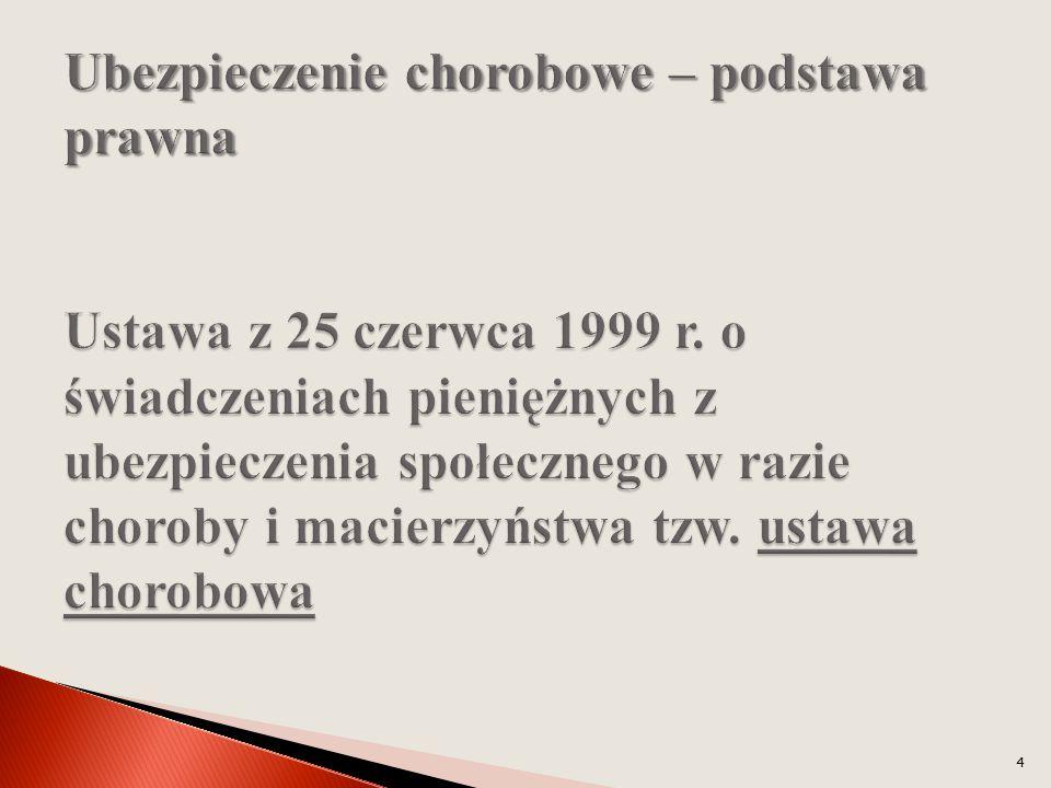 Ubezpieczenie chorobowe – podstawa prawna Ustawa z 25 czerwca 1999 r